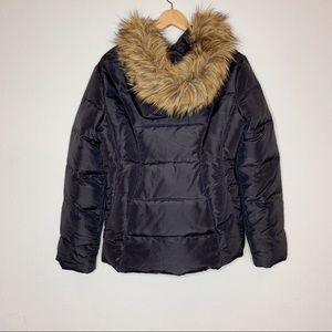 Jones New York Black Puffer Jacket with Fur Hood